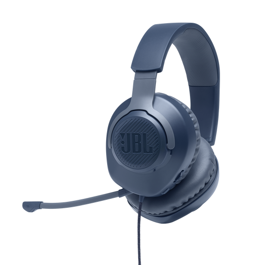 JBL Quantum 100 - Blue - Wired over-ear gaming headset with a detachable mic - Hero