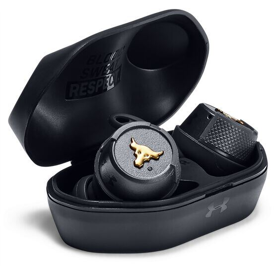 UA Project Rock True Wireless – Engineered by JBL - Black - Truly wireless sport headphones to maximize each and every workout, with JBL technology and sound - Detailshot 4