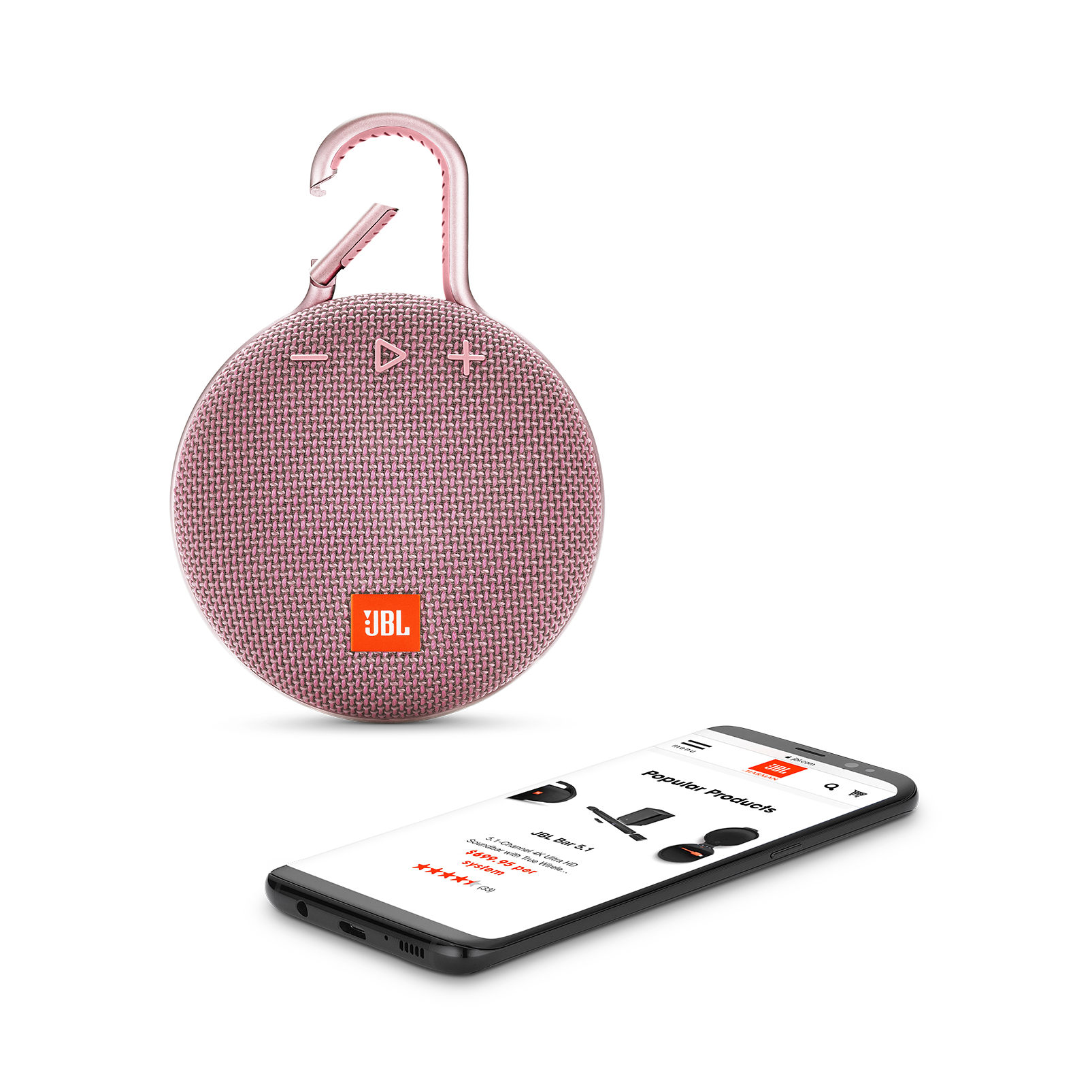 JBL CLIP 3 - Dusty Pink - Portable Bluetooth® speaker - Detailshot 1